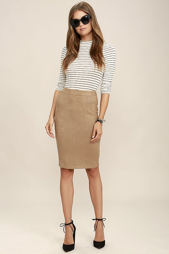 You'll be a multi-tasking maven in the Superpower Tan Suede Pencil Skirt! Soft microfiber vegan suede shapes a high banded waist and figure flattering pencil skirt. Back kick pleat. Hidden back zipper with clasp.