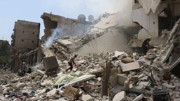 Prédios em escombros na cidade de Aleppo