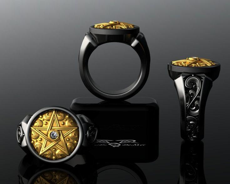 Supernatural Ring. Diamond Arra Star Pentagram Pentacle