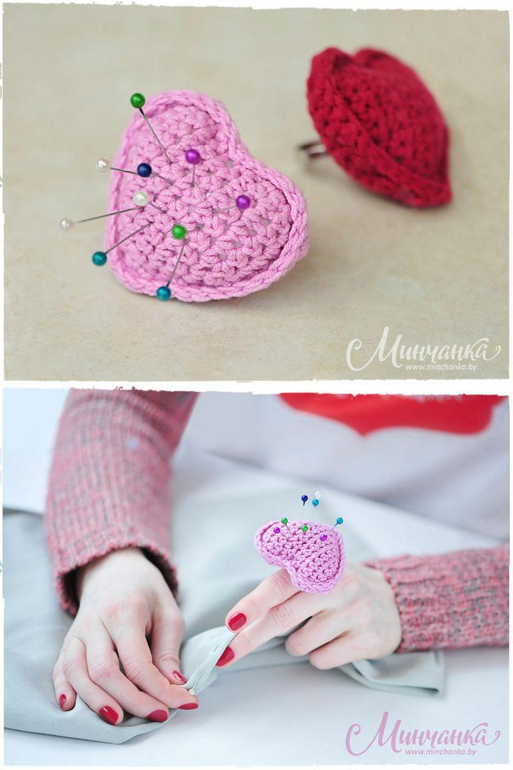 Pincushion «Valentine» #valentine #valentin #heart #love #craft #crochet