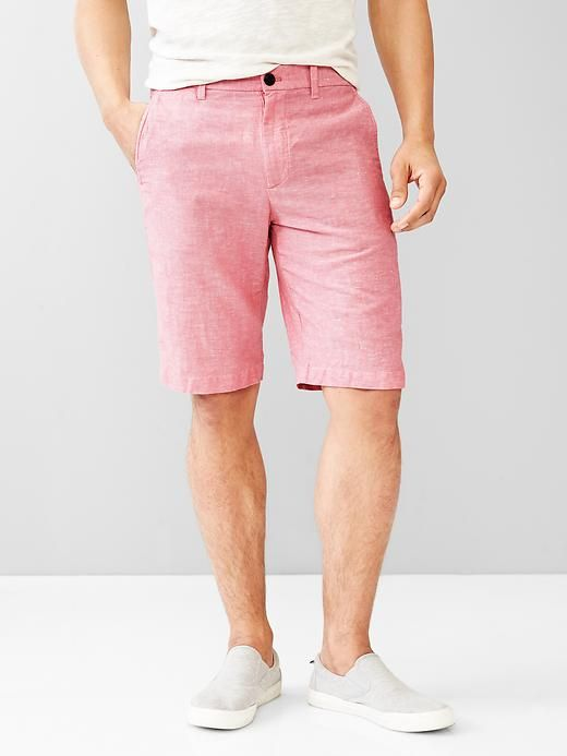 Linen-cotton flat front shorts