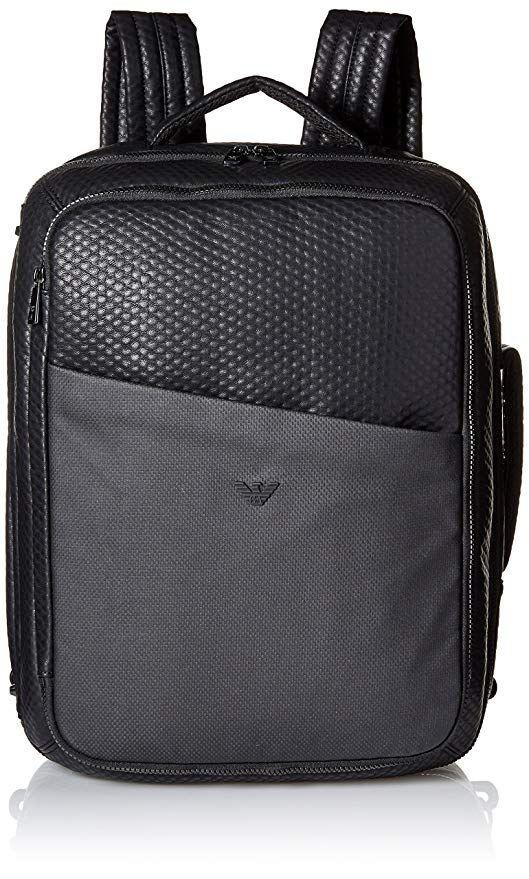 16faf6a555bc  Affiliate  Armani Exchange Men s Embossed Pu and Canvas Big Backpack with  Eagle Logo