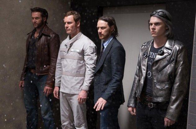'X-Men: Days of Future Past' -- Hugh Jackman (Wolverine), Michael Fassbender (Magneto), James McAvoy (Professor X), Evan Peters (Quicksilver)