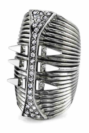 Palladium Glam Rock Long Finger Ring