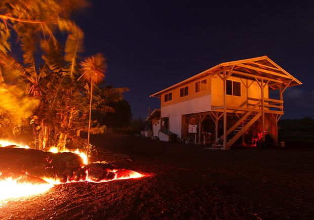 Kalapana home about to be destroyed by Kilauea's lava flow.  The current eruption of Kilauea began on January 3, 1983.
