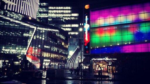 rainy day street view