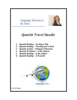 This file combines all 4 of my readings and 2 worksheets related to travel at 50% off!! Bundle includes: 1. Spanish Reading ~ Booking a Trip 2. Spanish Reading ~ Checking into a Hotel 3. Spanish Activity ~ Asking for Directions 4. Spanish Worksheet ~ At the Airport 5.