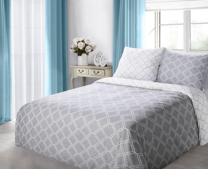 Szara bawełniana pościel do sypialni we wzory