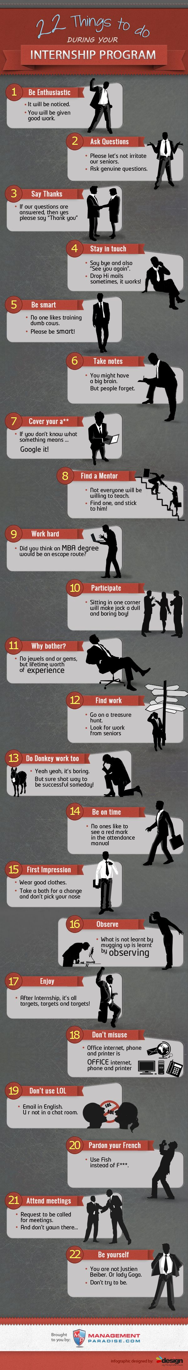 K, this is jumping the gun a wee bit but I thought it was funny and true! (Gotta love it!) 22 short interesting tips for all #interns