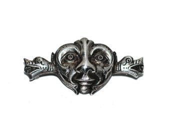 Exceptional Dragestil 830 Silver Dragon Style Norway Norwegian Henrik Moller Style Brooch Pin with Face Antique Jewelry