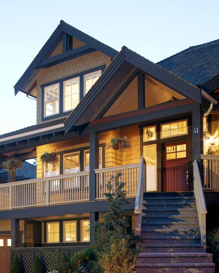 Shingle Siding For Homes: Three-story Home With A Very Large Porch, Wood Shingle