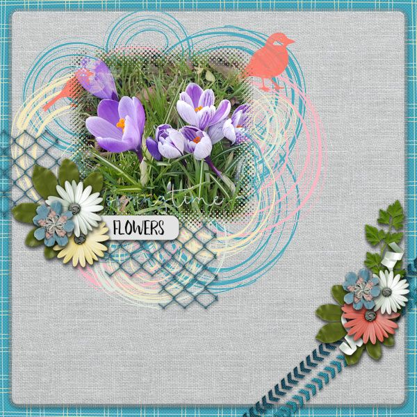 Springtime Flowers - digital Scrapbook Layout    Credits:  Sing a Song of Springtime Grab Bag by Mandy King at Gingerscraps    Love the Spring colors, the lovely hodgepodge and the great flowers in this grab bag.    http://store.gingerscraps.net/Sing-A-Song-Of-Springtime-Grab-Bag.html