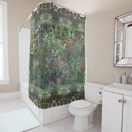 Deer in the Gardens First Freeze Early Fall Shower Curtain - original gifts diy cyo customize