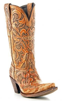 Women's Lucchese Hand Tooled Boots Caramel