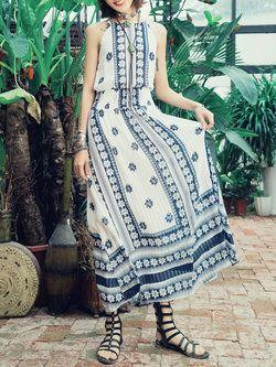A-line Sleeveless Printed Floral Boho Maxi Dress