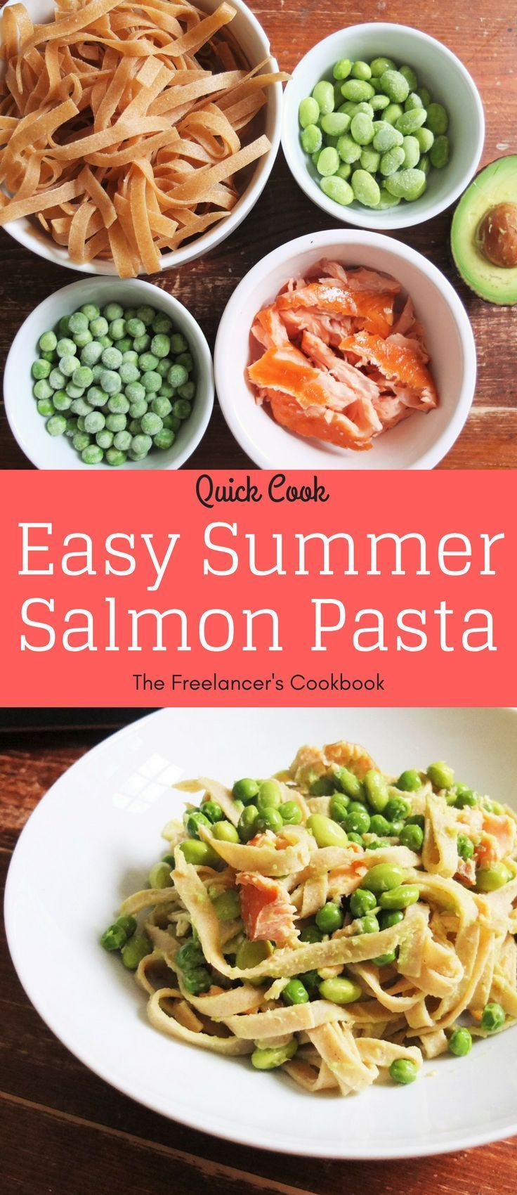 This easy summer pasta dish makes a quick and healthy weeknight dinner in less than 15 minutes. It contains wholewheat tagliatelle, hot smoked salmon, soya beans, peas and avocado. Dairy free.