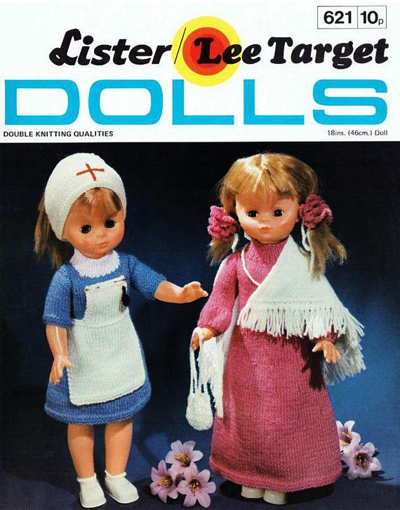 PDF Vintage Doll Clothes Knitting Pattern Nurse Dress Shawl