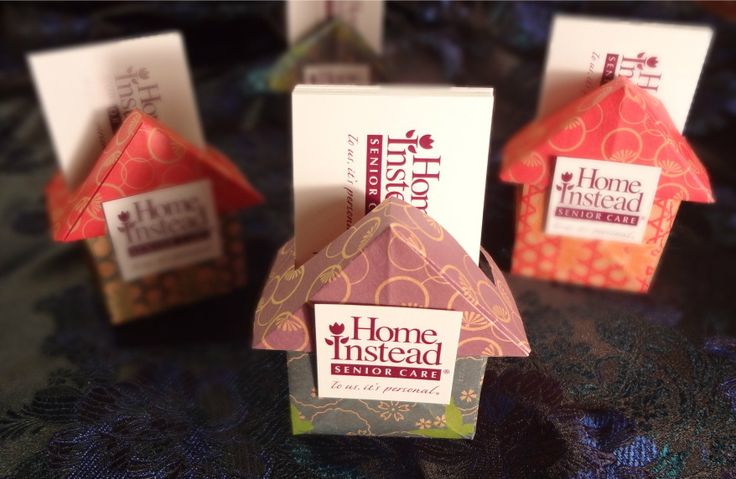 """Origami House Business Card Holders! A gift for my co-workers at our new office. When you work for a company called """"Home Instead"""" how can you get any cuter?"""