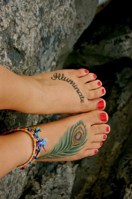 Feather Tattoo Design On Foot, cool foot tattoos, flower foot tattoo ~ Look My Tattoo