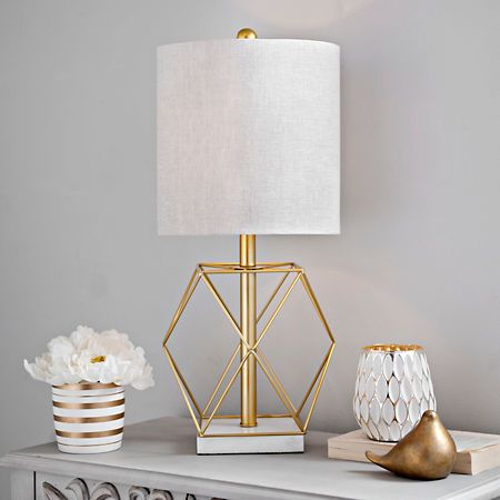 geometric gold stone base table lamp