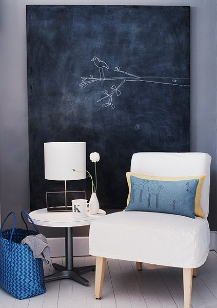 Love the chair, colors, and chalk board wall!
