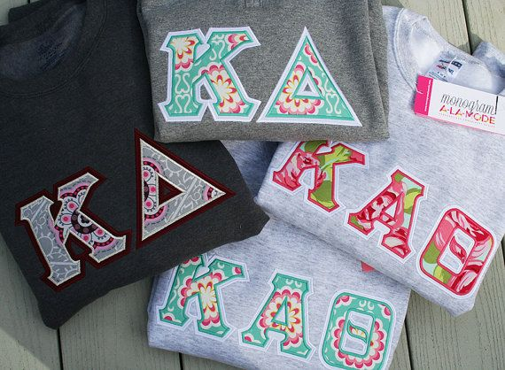 greek letter tie dye applique crew neck sweatshirt