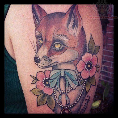 Fox Head And Flowers Tattoo On Bicep