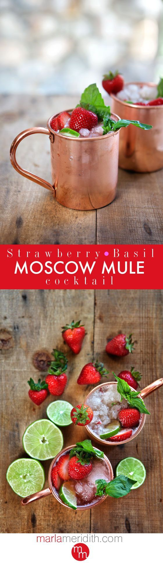Strawberry Basil Moscow Mule Cocktail | The ultimate summer libation! MarlaMeridith.com ( @marlameridith )