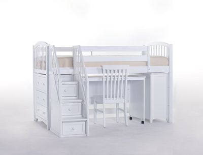 Junior Loft Bed with Cases, Stairs, and Desk in White