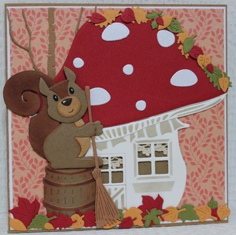 Gemaakt door Joke # herfstkaart met paddenstoel en eekhoorn