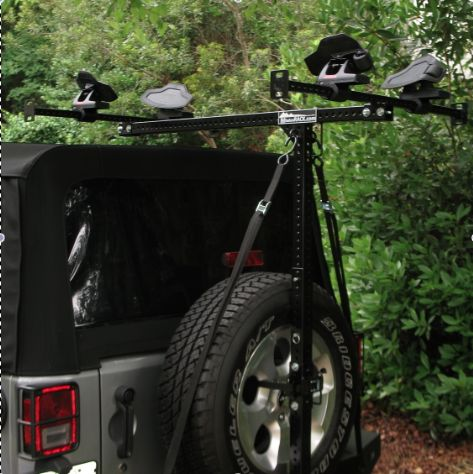 Jeep sport rack for soft top jeep Hitchmount rack sport rack for vehicle trailer hitch http://www.hitchmount-rack.com/products/jeep-kayak-rack