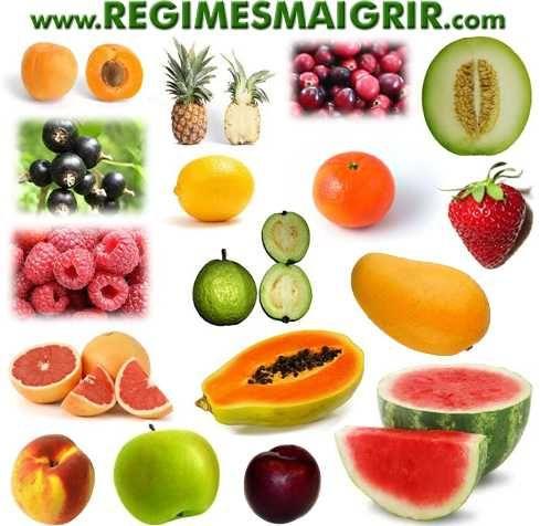 ALIMENTS A CALORIES NEGATIVES : 1) Fruits à calories négatives  Abricot, Ananas, Canneberge, Cantaloup, Cassis, Citron, Clémentine, Fraise, Framboise, Goyave, Mandarine, Mangue, Melon, Mûre, Orange, Pamplemousse, Papaye, Pastèque, Pêche, Pomme, Prune, Rhubarbe.   2) Légumes à calories négatives Ail, Asperge, Aubergine, Bette, Brocoli, Carotte, Céleri, Champignon, Chou, Chou-fleur, Chou frisé, Concombre, Courge, Courgette, Cresson, Endive, Epinard, Fenouil, Laitue, Navet, Oignon, Poireau…