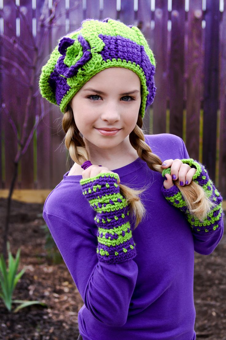 Tween Hats Lime Green And Purple Slouchy Hat With Flower