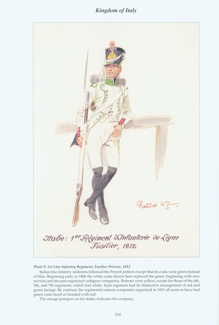 Kingdom of Italy: Plate 9: 1st Line Infantry Regiment, Fusilier Private, 1812