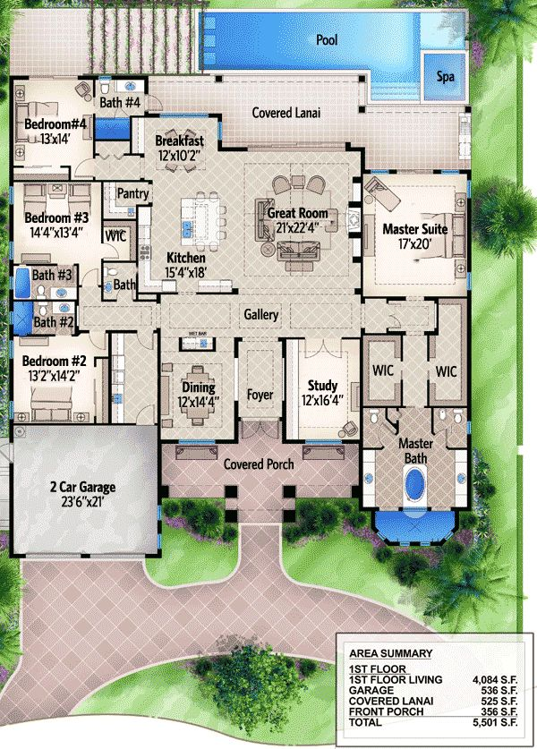 One Story Four Bed Beauty - 65614BS | Florida, Southern, Luxury, Photo Gallery, Premium Collection, 1st Floor Master Suite, Butler Walk-in Pantry, CAD Available, Den-Office-Library-Study, PDF, Split Bedrooms | Architectural Designs