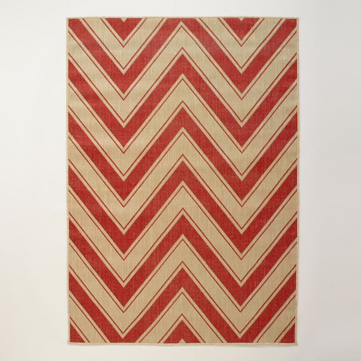 4.9ftx6.9ft Red Chevron Indoor Outdoor Rug