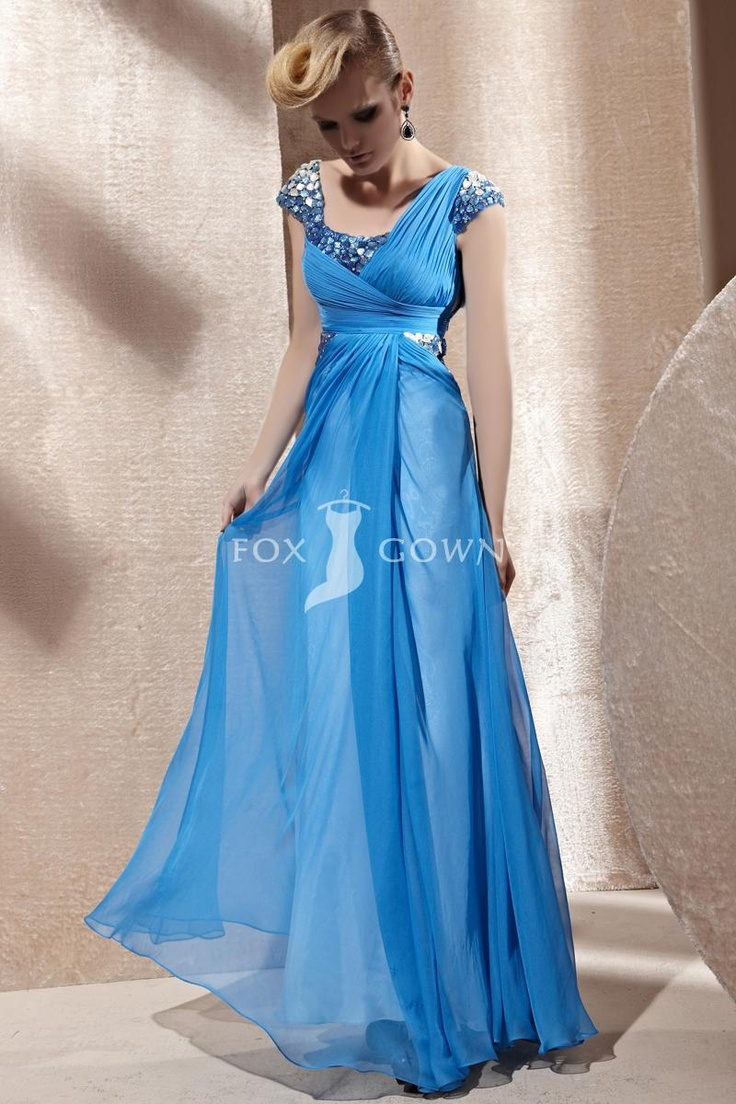 Ocean blue a line chiffon evening dress with crystal cap for Ocean blue wedding dress
