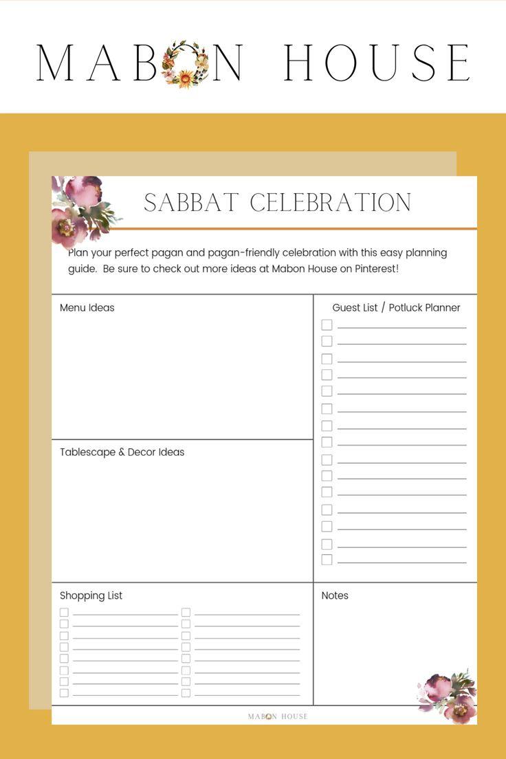 Sabbat Celebration Planner Sabbats, Mabon, Beltane