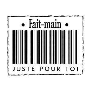 Florilèges Design - Tampon bois - Fait main pour toi - 3,4 x 4,2 cm