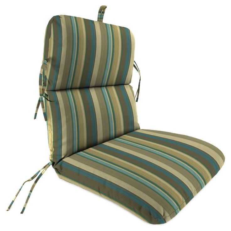 Outdoor Knife Edge Dining Chair Cushion In Draw The Line Spa - Jordan Manufacturing,
