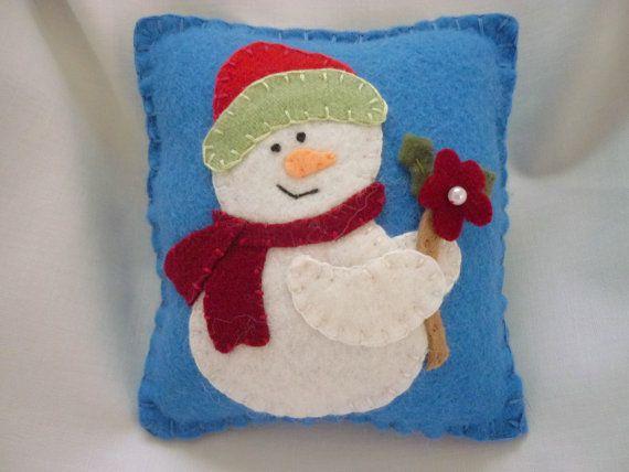 Felt Snowman Pillow  Decoration