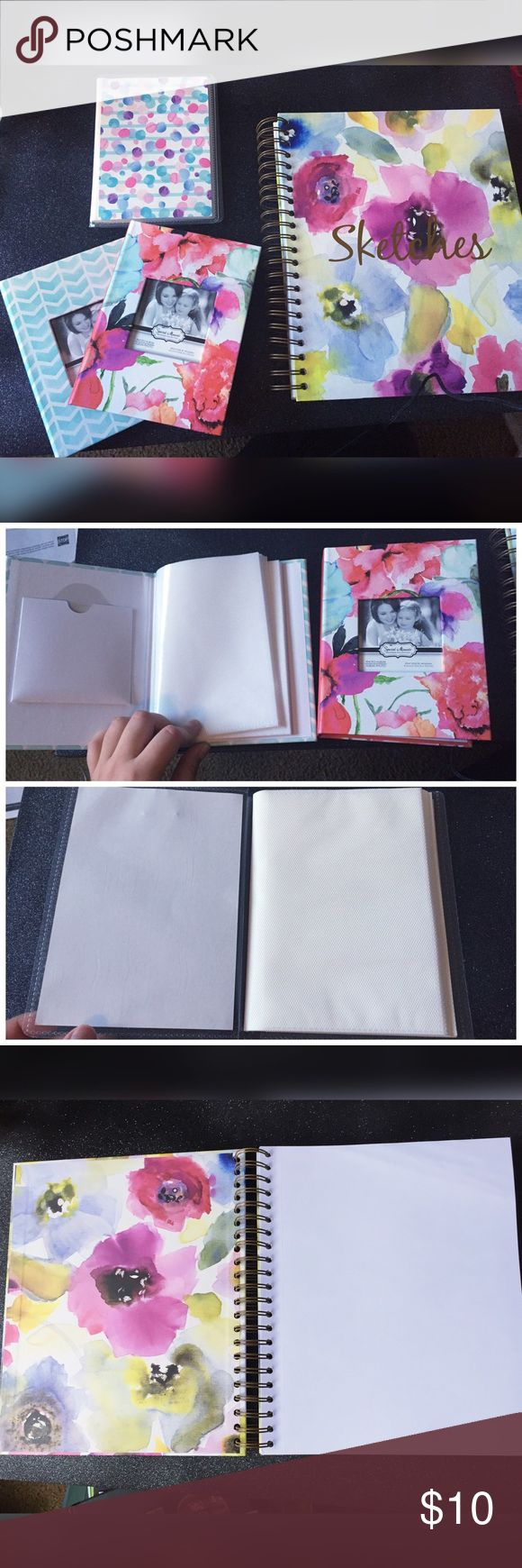Photo Album Bundle (1) 4x6 photo album (holds 48 photos)  (2) 4x6 photo albums (hold 24 photos each)  (1) Sketch book acid free paper (176 pages) can be used as a scrap book Other