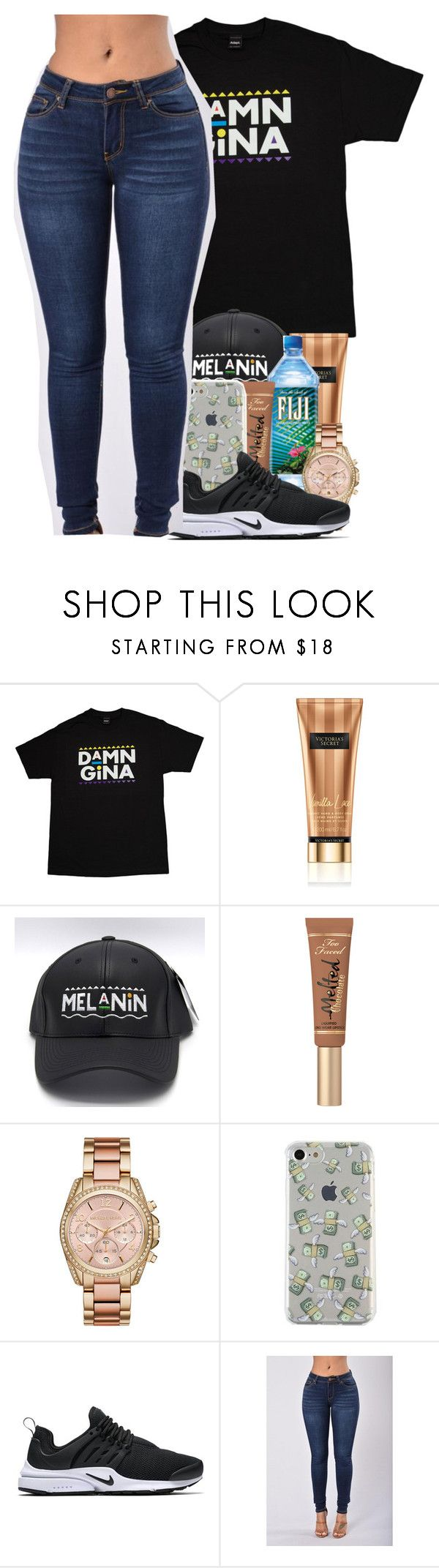 """""""thinkin' 90s <3"""" by melanin-avii ❤ liked on Polyvore featuring Victoria's Secret, Michael Kors and NIKE"""