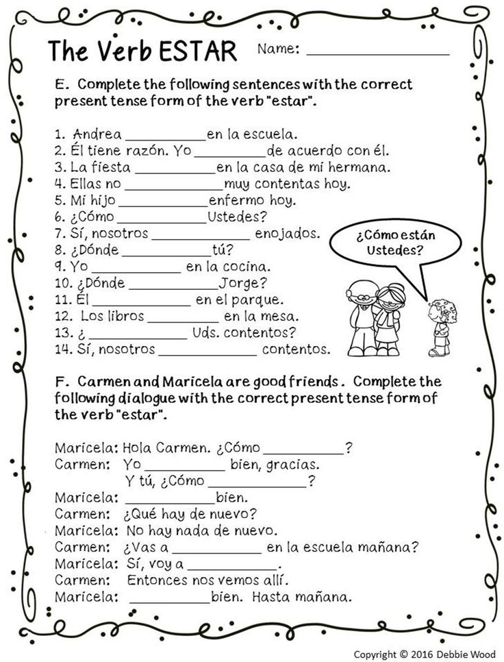 Free spanish worksheets for adults