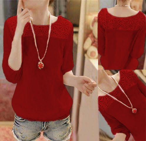 Red Lace >   bahan spandek mix lace fit to L lengan 7-8 Size fit to l, ld 90 pjg 60 >  IDR. 55,000 >   ORDER > SMS : 085643087440