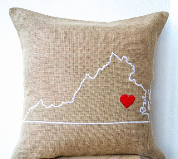 Burlap Pillows- State Pillow- Embroidered pillow- Personalized Pillow- Customized Cushion- Gift-16x16- Burlap Cushion- Virginia State Pillow on Etsy, $23.50   But Tennessee