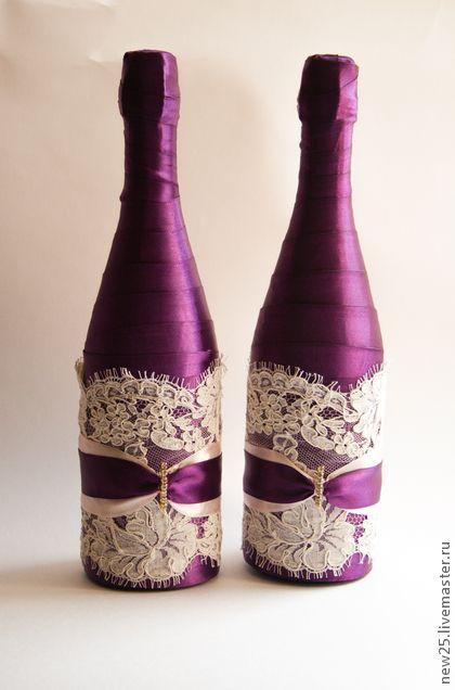 Украшение шампанского - тёмно-фиолетовый,Бутылка шампанского,свадебное шампанское