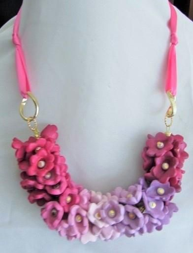 Polymer clay floral necklace with ribbon tie - Jewelry creation by Cassandra Wood
