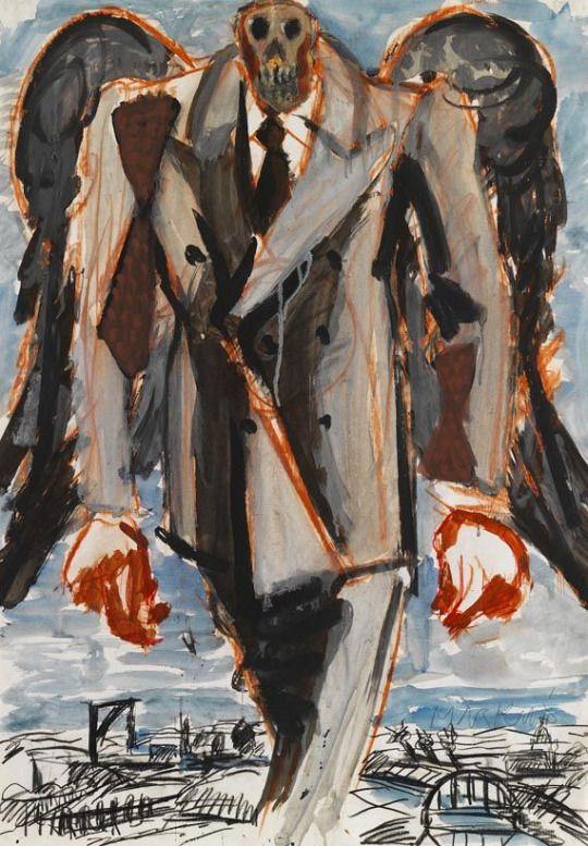 Markus Lüpertz (German, b. 1941), Ohne Titel, 1976. Watercolour, gouache, chalk and charcoal on paper, 86 x 60.8 cm.