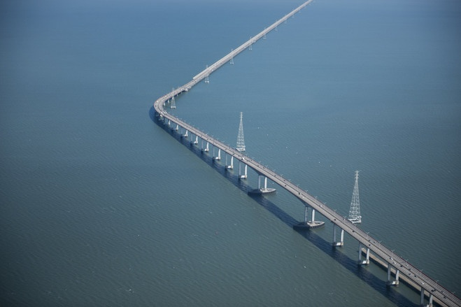FROM ABOVE: An aerial view of the San Mateo-Hayward Bridge from Air Force One in San Mateo, Calif., Monday.